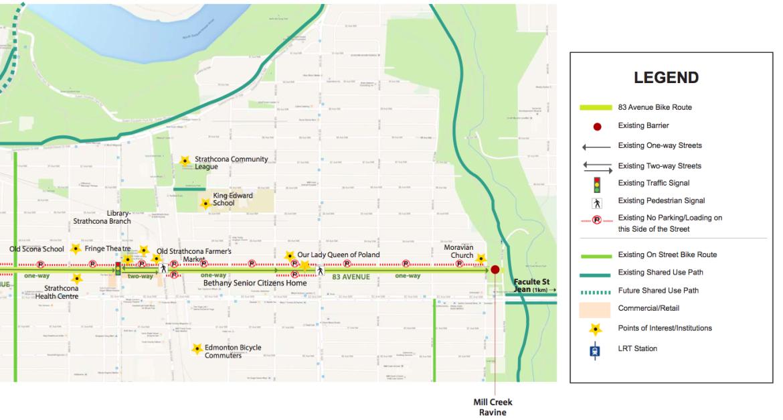 83 Avenue (Stratchona) Bike Route