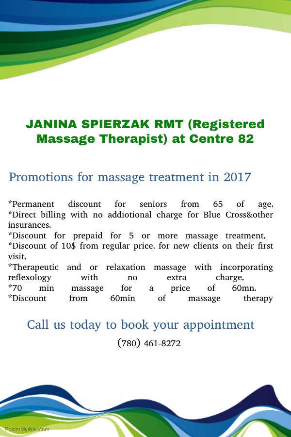 Promotions for massage treatment for 2017