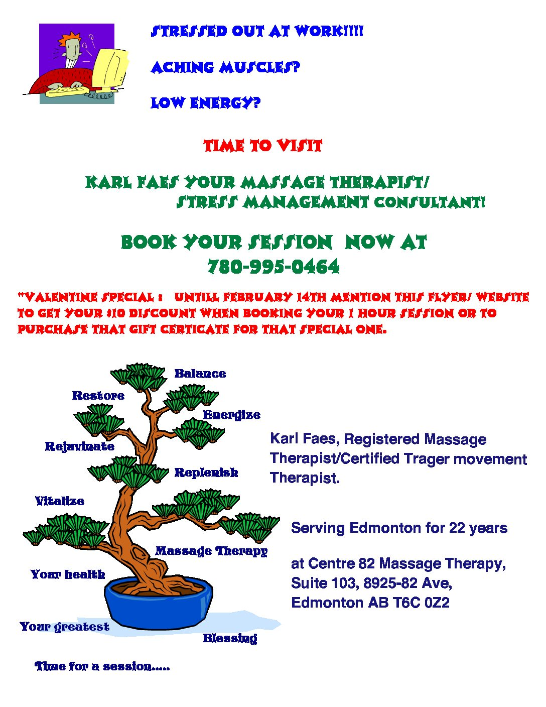 Valentine Special with Center 82 Massage Therapy. Book your appointment now!